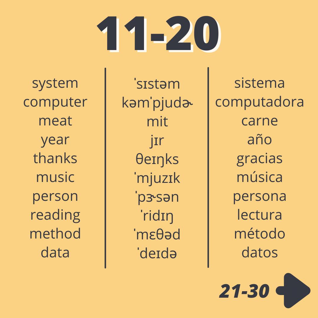 Los 50 sustantivos más comunes en ingles profe kyle 11-20