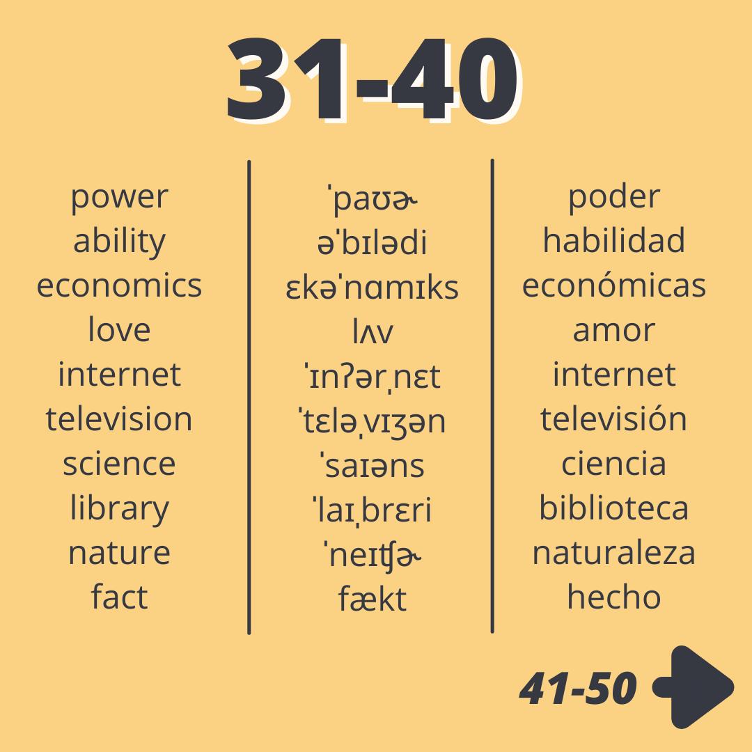 Los 50 sustantivos más comunes en ingles profe kyle 31-40